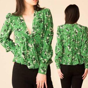 Veronica Beard Silk Floral Payton Blouse Green 4